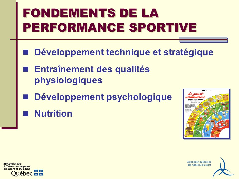 FONDEMENTS DE LA PERFORMANCE SPORTIVE