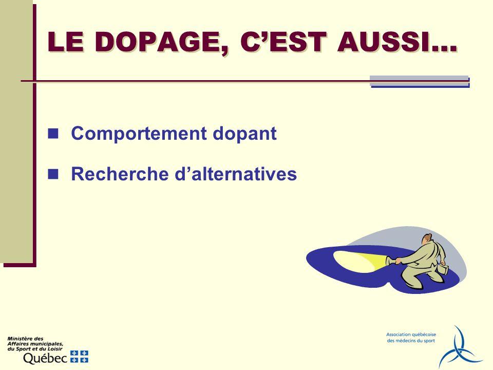 LE DOPAGE, C'EST AUSSI… Comportement dopant Recherche d'alternatives