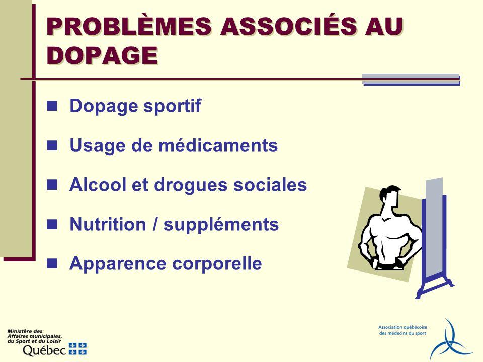 PROBLÈMES ASSOCIÉS AU DOPAGE