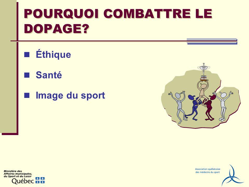 POURQUOI COMBATTRE LE DOPAGE