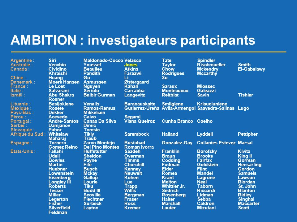AMBITION : investigateurs participants