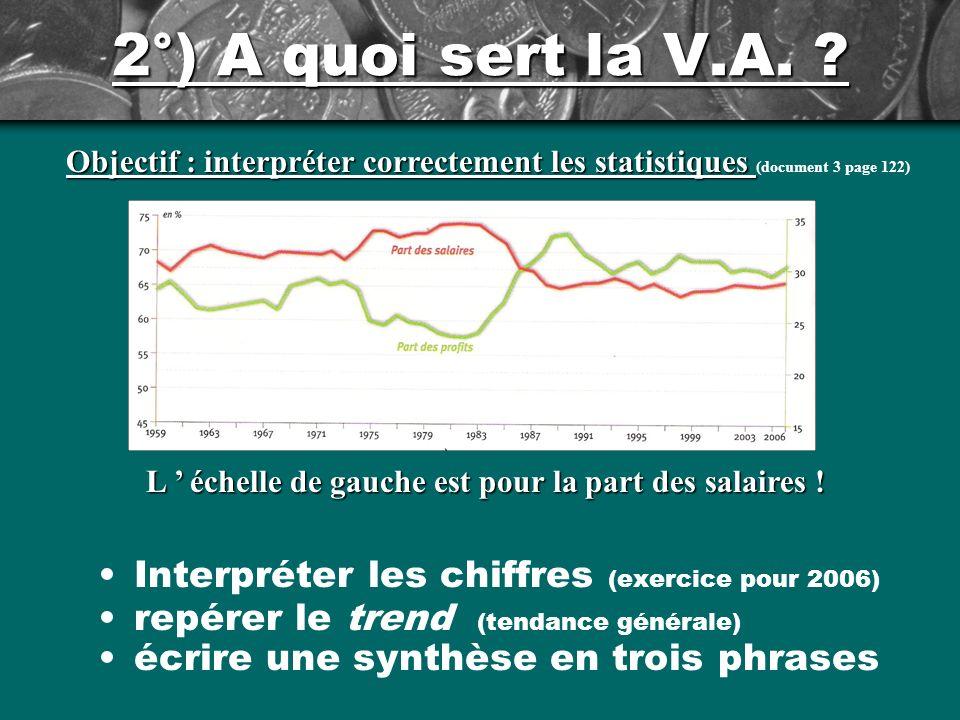 2°) A quoi sert la V.A. Objectif : interpréter correctement les statistiques (document 3 page 122)