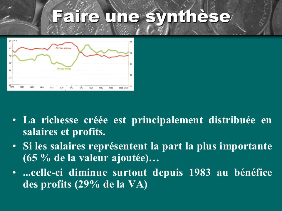 Faire une synthèse La richesse créée est principalement distribuée en salaires et profits.