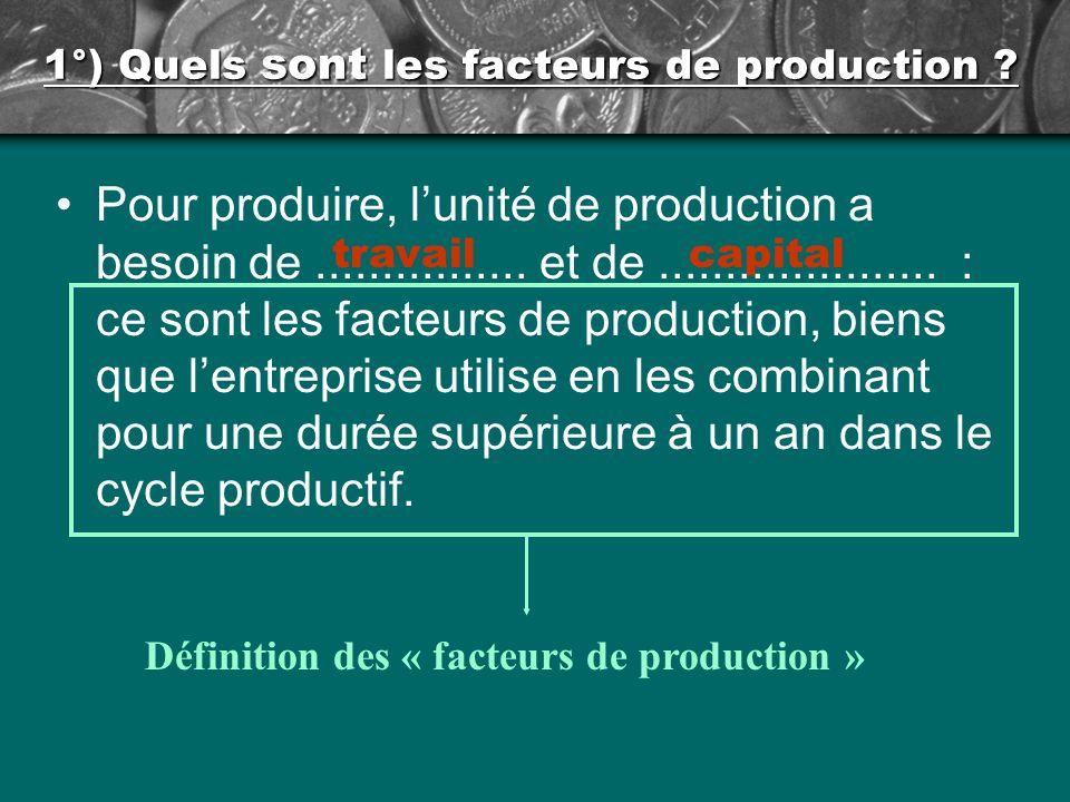 1°) Quels sont les facteurs de production