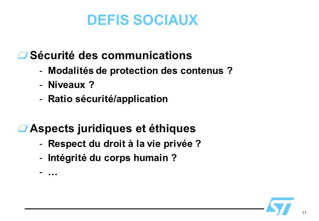 DEFIS SOCIAUX Sécurité des communications