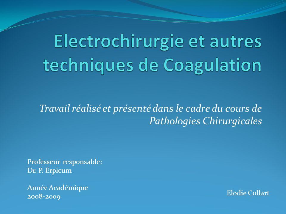 Electrochirurgie et autres techniques de Coagulation