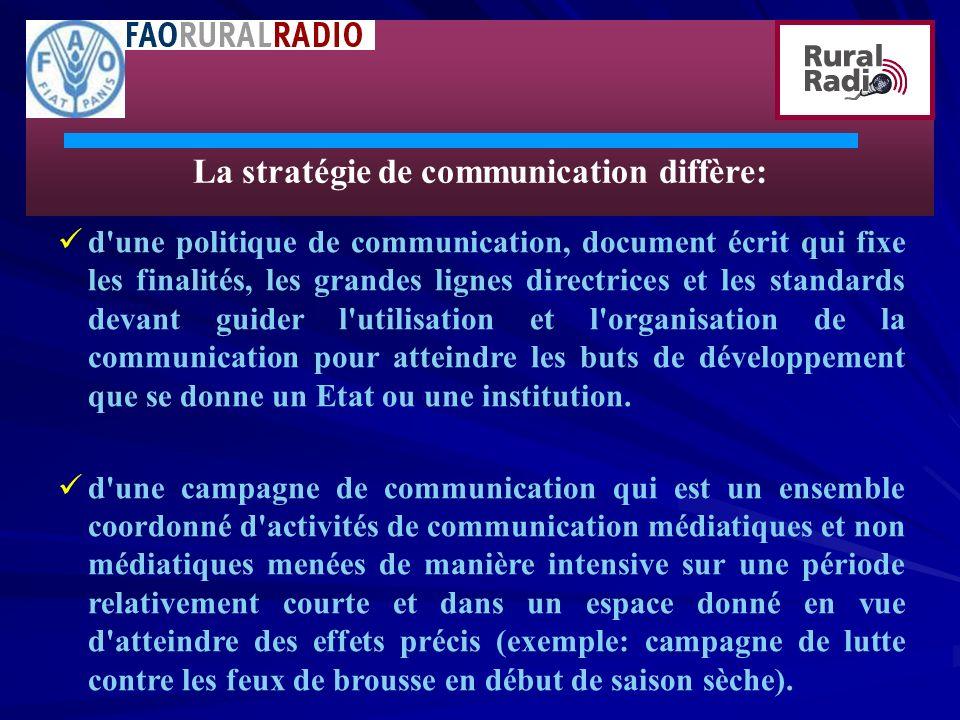 La stratégie de communication diffère: