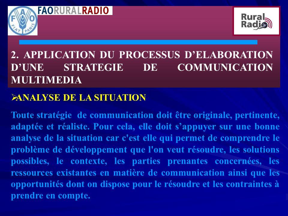 2. APPLICATION DU PROCESSUS D'ELABORATION D'UNE STRATEGIE DE COMMUNICATION MULTIMEDIA