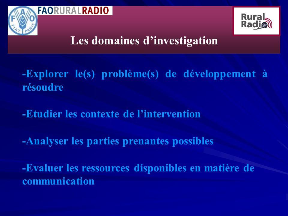 Les domaines d'investigation