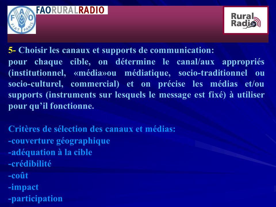 5- Choisir les canaux et supports de communication: