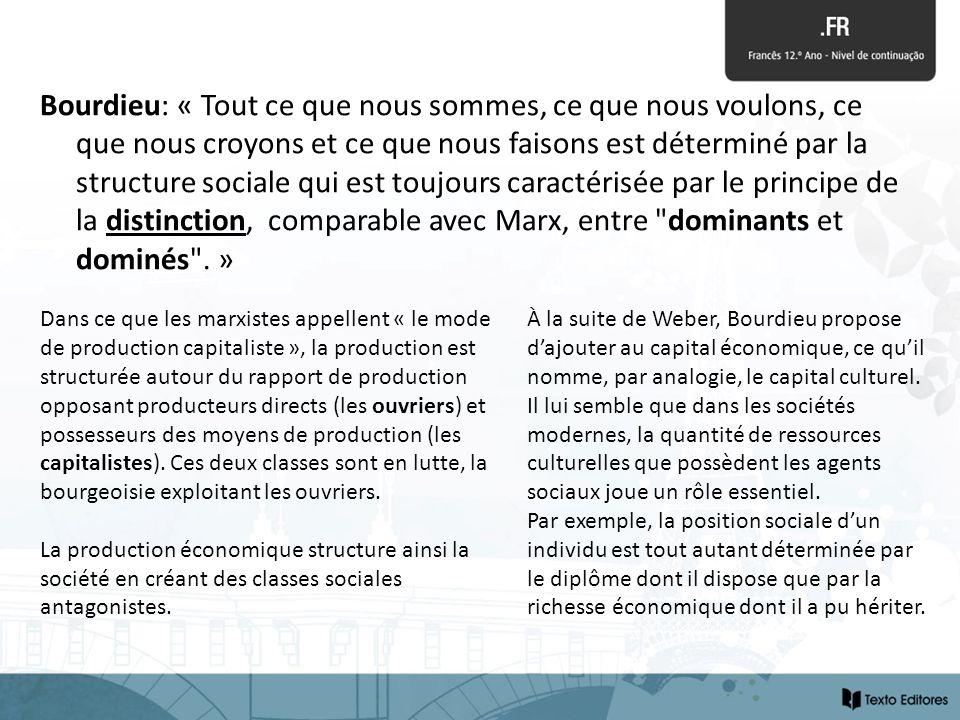 Bourdieu: « Tout ce que nous sommes, ce que nous voulons, ce que nous croyons et ce que nous faisons est déterminé par la structure sociale qui est toujours caractérisée par le principe de la distinction, comparable avec Marx, entre dominants et dominés . »