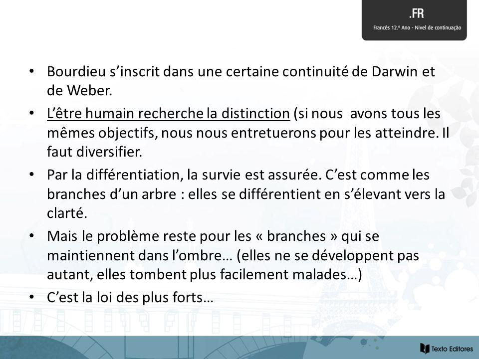 Bourdieu s'inscrit dans une certaine continuité de Darwin et de Weber.