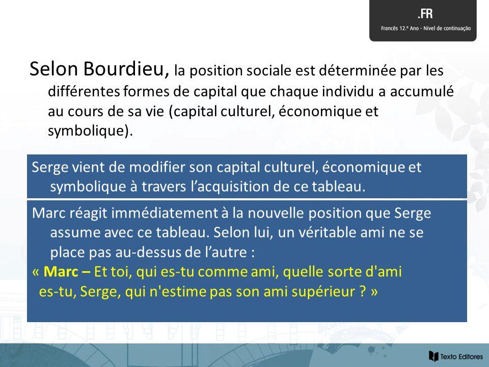 Selon Bourdieu, la position sociale est déterminée par les différentes formes de capital que chaque individu a accumulé au cours de sa vie (capital culturel, économique et symbolique).