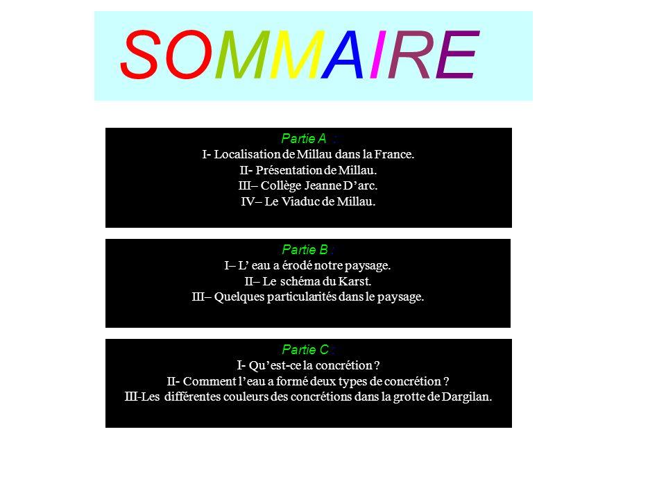 SOMMAIRE Partie A : I- Localisation de Millau dans la France.