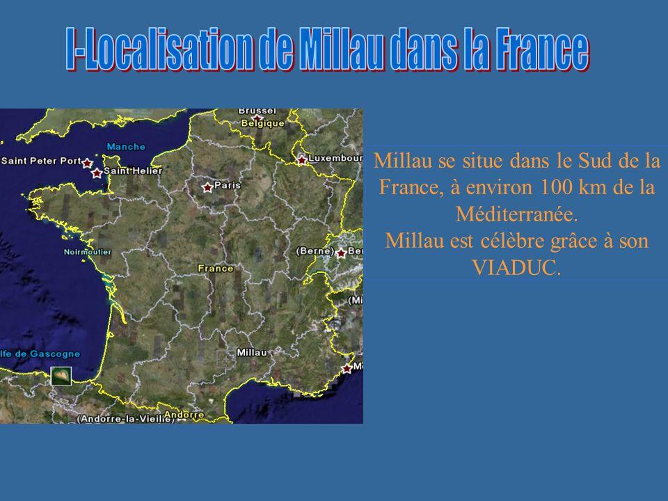 I-Localisation de Millau dans la France