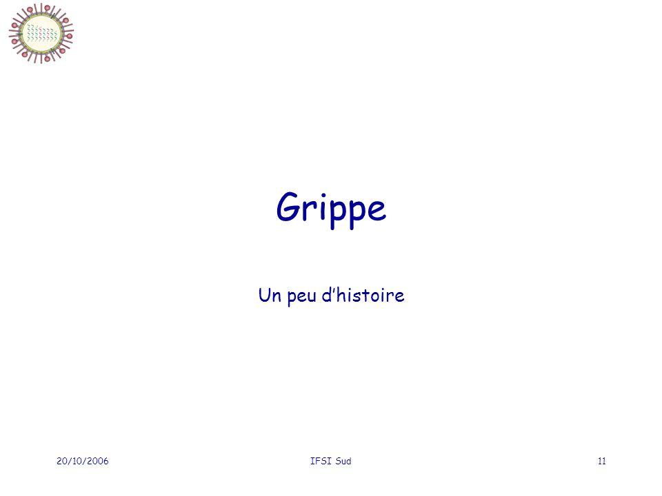 Grippe Un peu d'histoire 20/10/2006 IFSI Sud