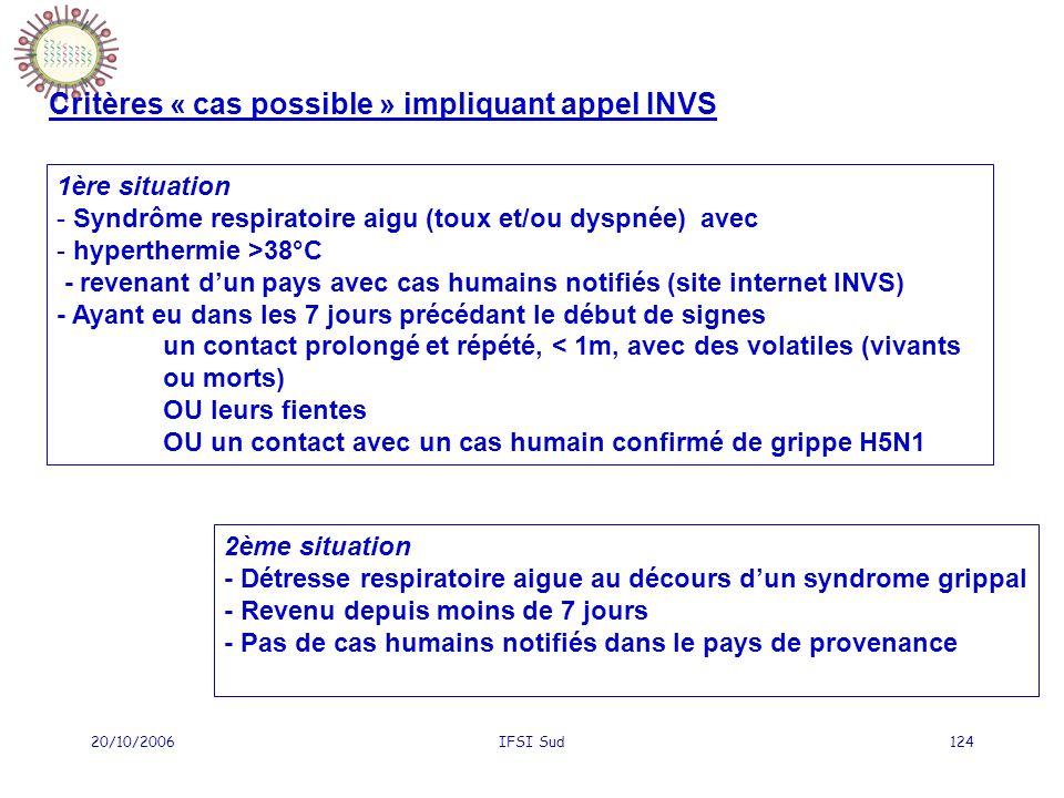 Critères « cas possible » impliquant appel INVS