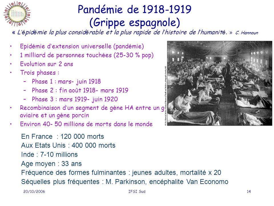 Pandémie de 1918-1919 (Grippe espagnole) « L'épidémie la plus considérable et la plus rapide de l'histoire de l'humanité. » C. Hannoun