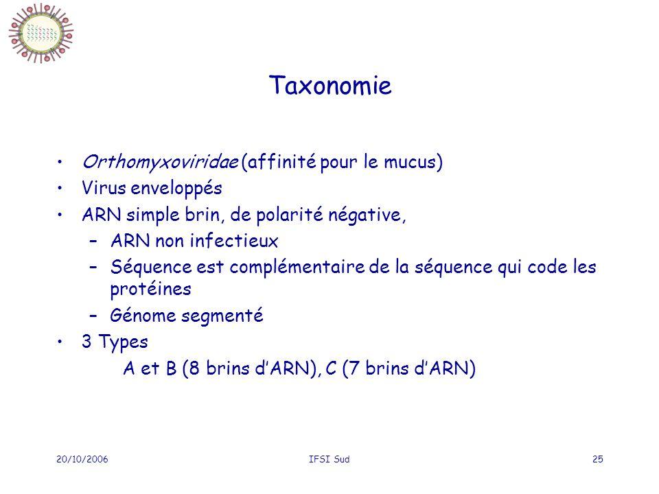 Taxonomie Orthomyxoviridae (affinité pour le mucus) Virus enveloppés