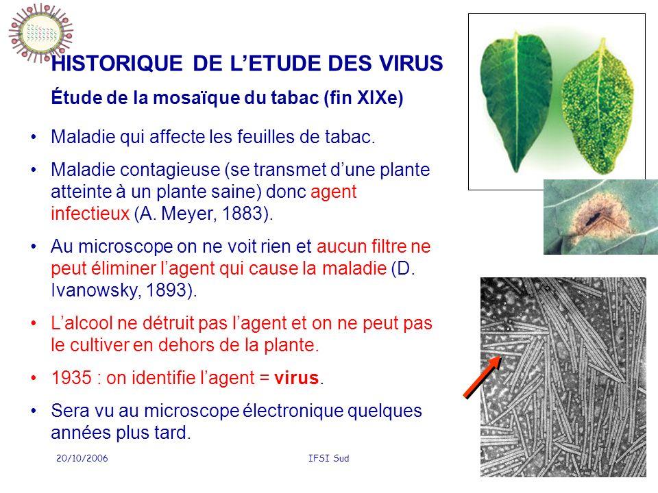 HISTORIQUE DE L'ETUDE DES VIRUS