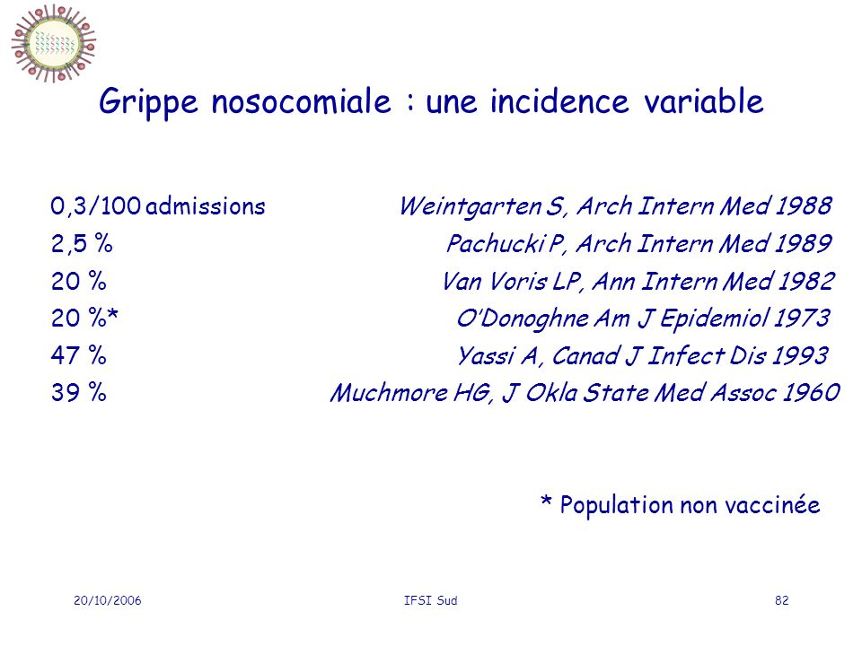 Grippe nosocomiale : une incidence variable
