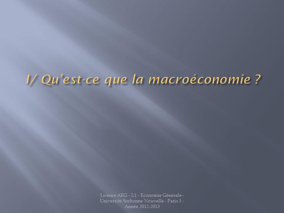 I/ Qu'est-ce que la macroéconomie