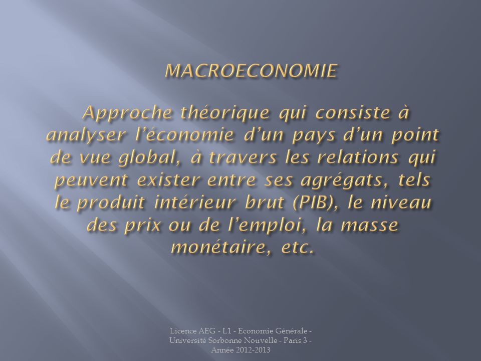 Jean LATREILLE MACROECONOMIE.