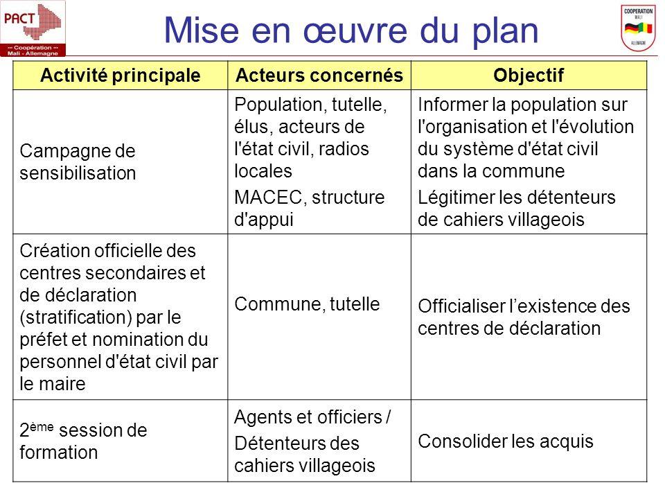 Mise en œuvre du plan Activité principale Acteurs concernés Objectif