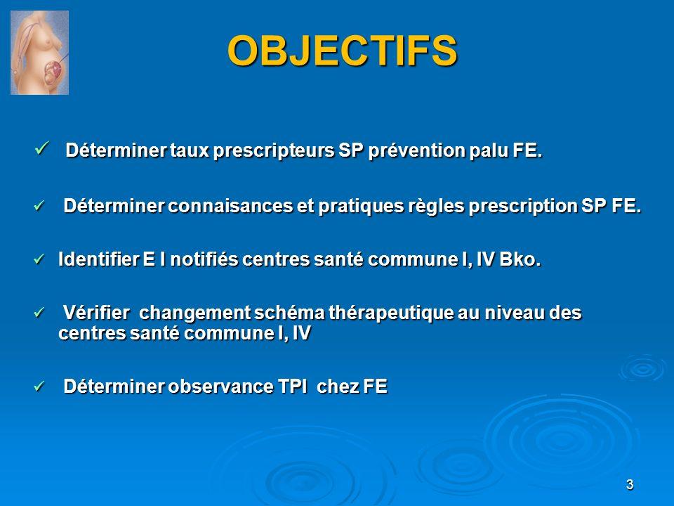 OBJECTIFS Déterminer taux prescripteurs SP prévention palu FE.