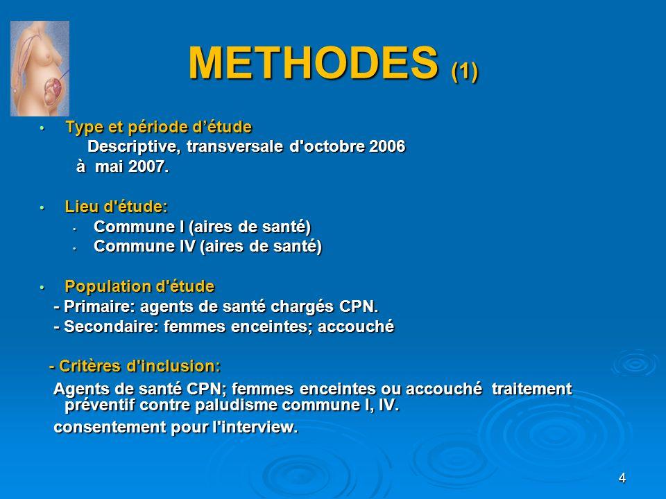 METHODES (1) Type et période d'étude