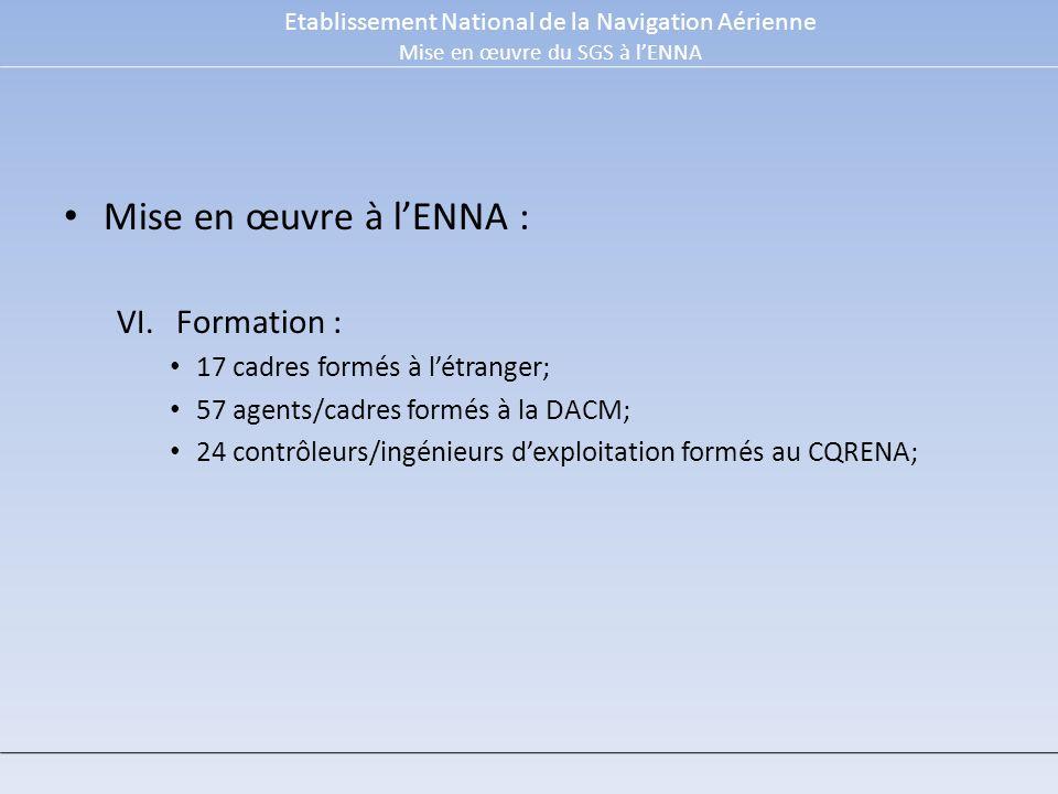 Mise en œuvre à l'ENNA : Formation : 17 cadres formés à l'étranger;