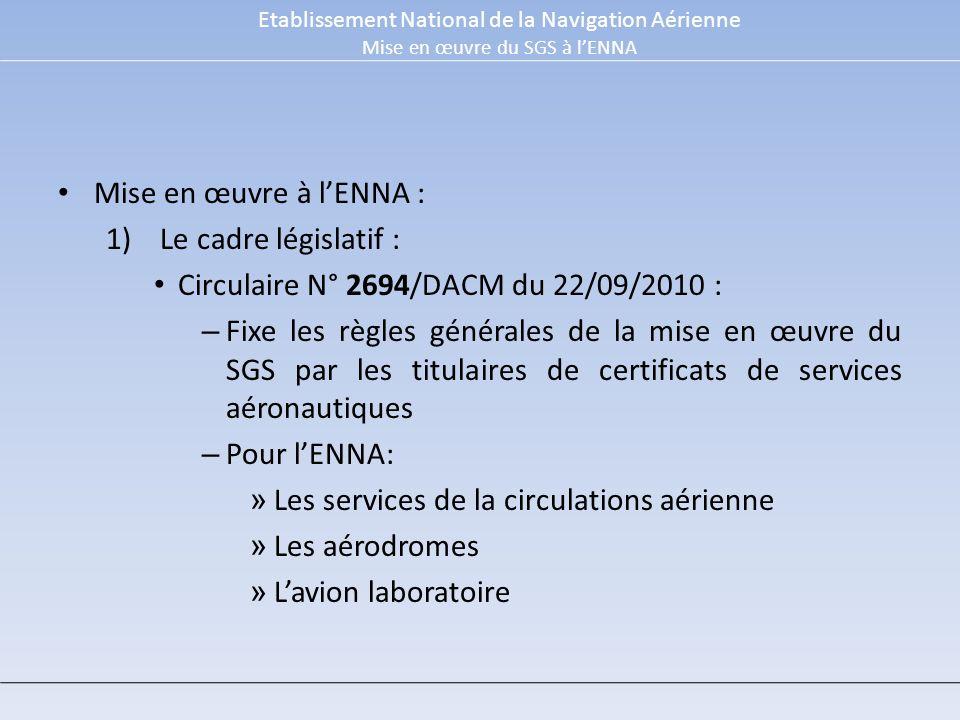 Circulaire N° 2694/DACM du 22/09/2010 :