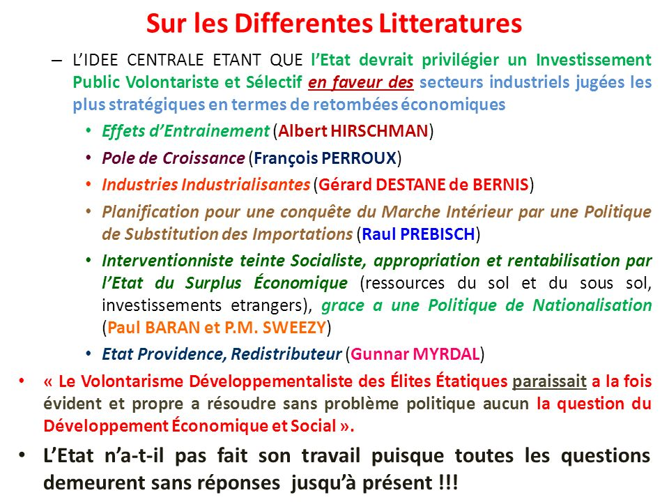 Sur les Differentes Litteratures