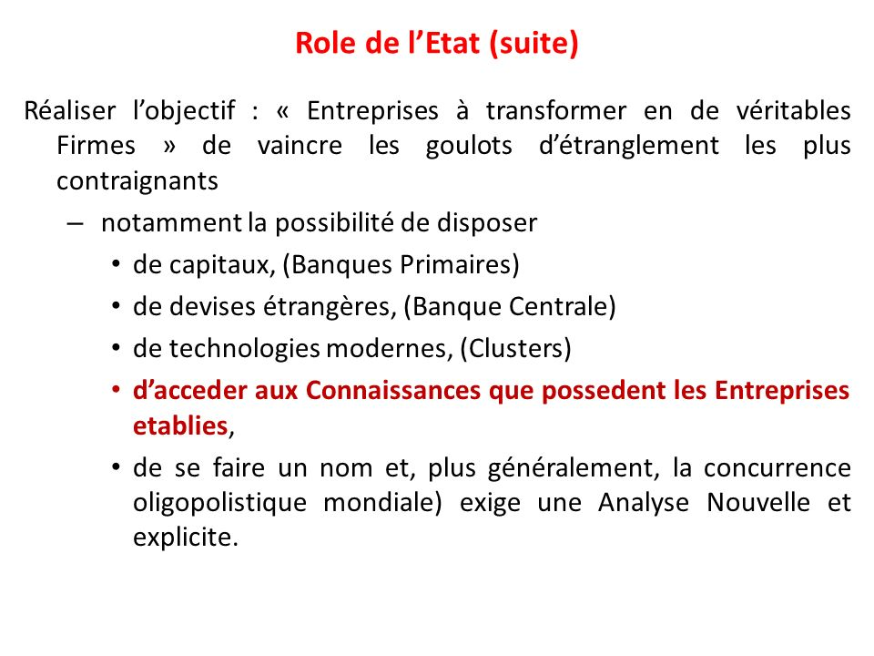 Role de l'Etat (suite)