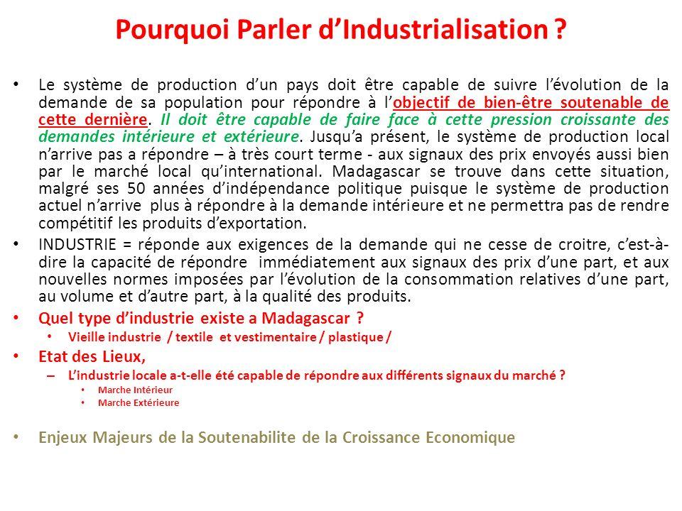 Pourquoi Parler d'Industrialisation