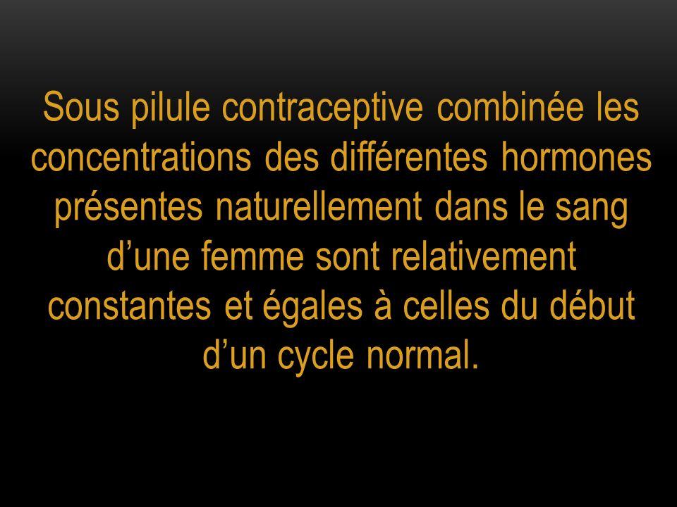 Sous pilule contraceptive combinée les concentrations des différentes hormones présentes naturellement dans le sang d'une femme sont relativement constantes et égales à celles du début d'un cycle normal.