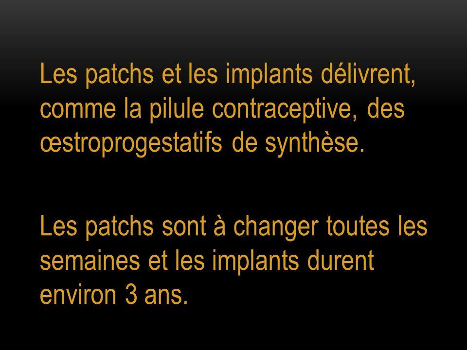 Les patchs et les implants délivrent, comme la pilule contraceptive, des œstroprogestatifs de synthèse.