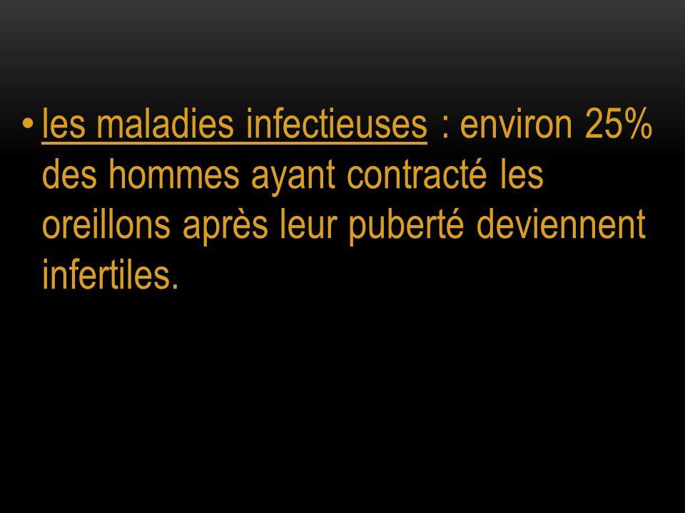 les maladies infectieuses : environ 25% des hommes ayant contracté les oreillons après leur puberté deviennent infertiles.