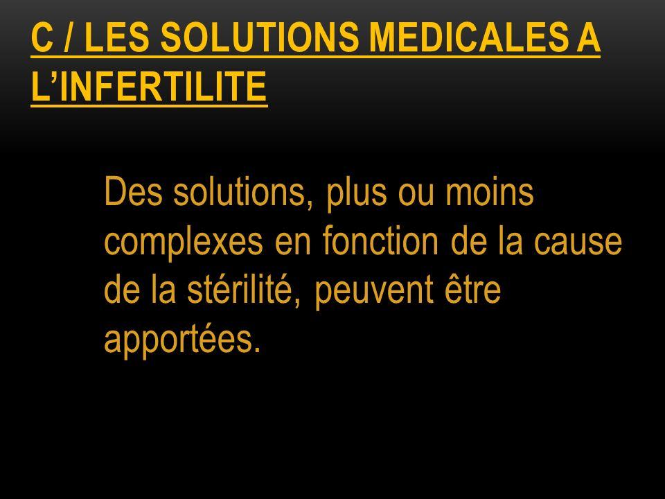 C / les solutions medicales a l'infertilite