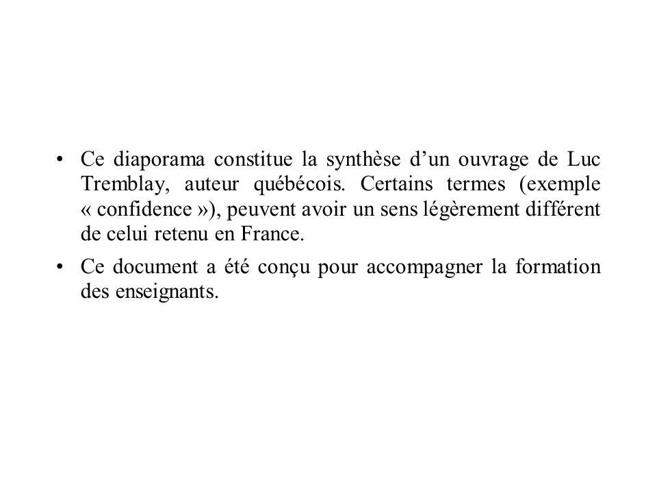Ce diaporama constitue la synthèse d'un ouvrage de Luc Tremblay, auteur québécois. Certains termes (exemple « confidence »), peuvent avoir un sens légèrement différent de celui retenu en France.