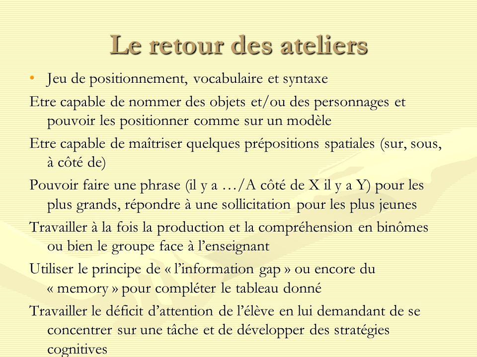 Le retour des ateliers Jeu de positionnement, vocabulaire et syntaxe