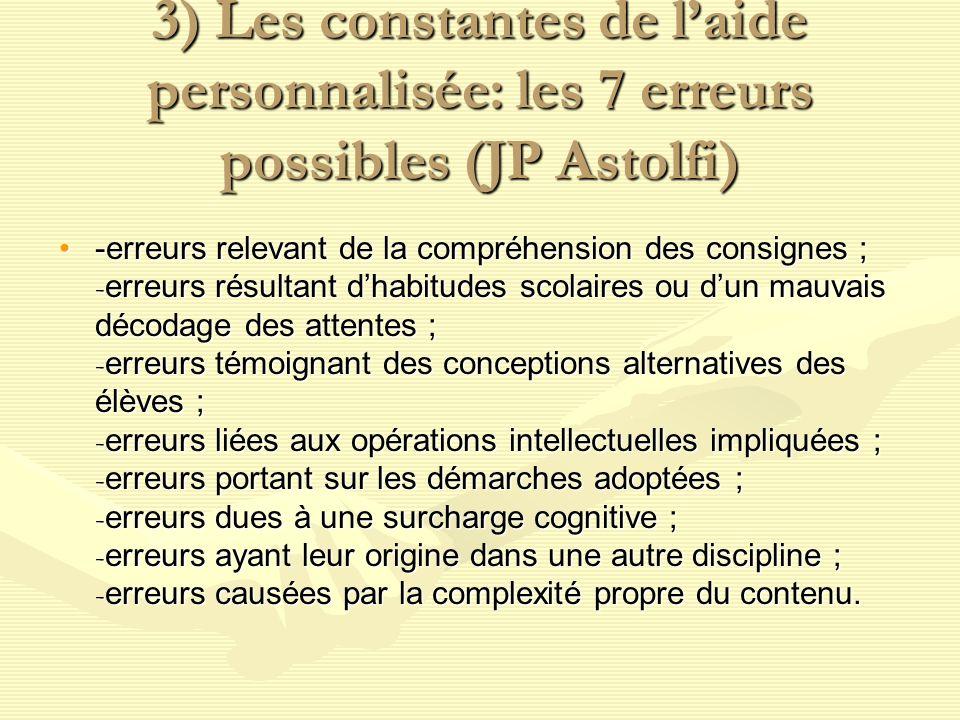 3) Les constantes de l'aide personnalisée: les 7 erreurs possibles (JP Astolfi)