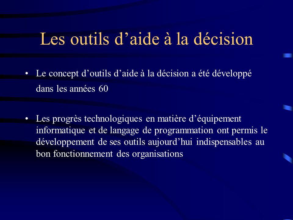 Les outils d'aide à la décision
