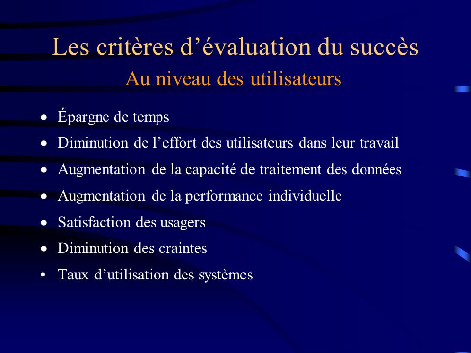 Les critères d'évaluation du succès