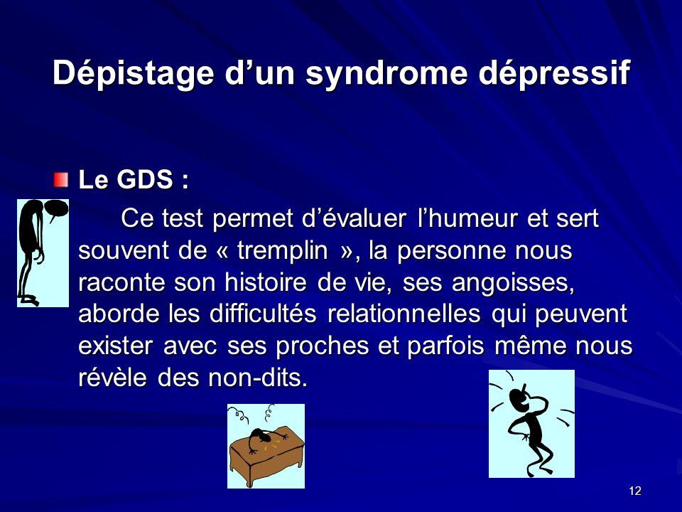 Dépistage d'un syndrome dépressif