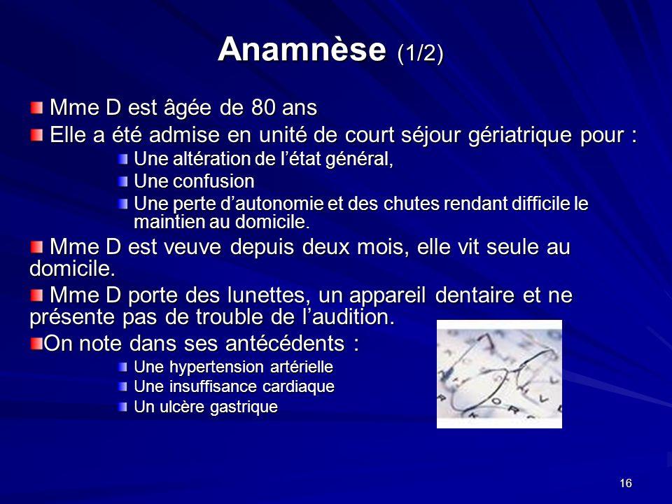 Anamnèse (1/2) Mme D est âgée de 80 ans