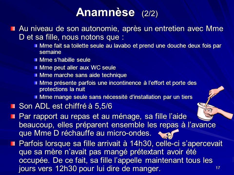 Anamnèse (2/2) Au niveau de son autonomie, après un entretien avec Mme D et sa fille, nous notons que :