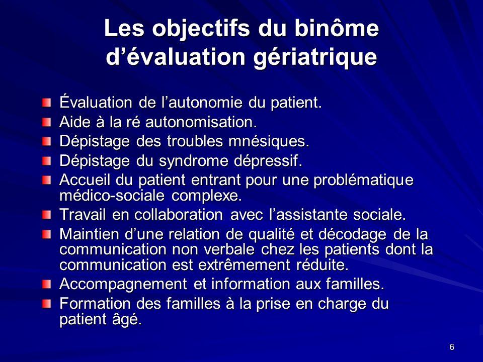 Les objectifs du binôme d'évaluation gériatrique