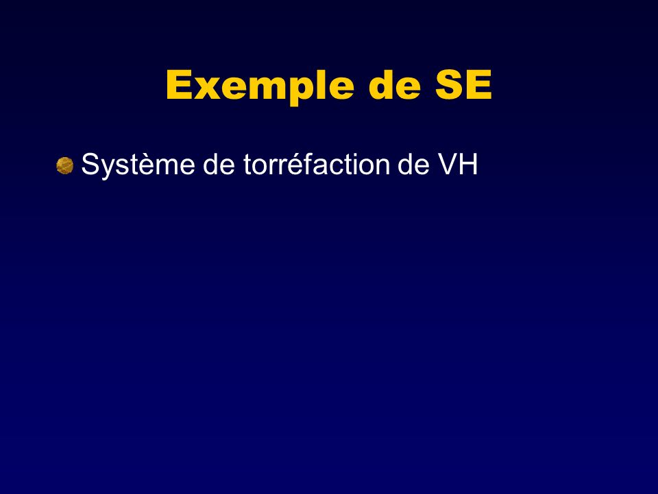 Exemple de SE Système de torréfaction de VH