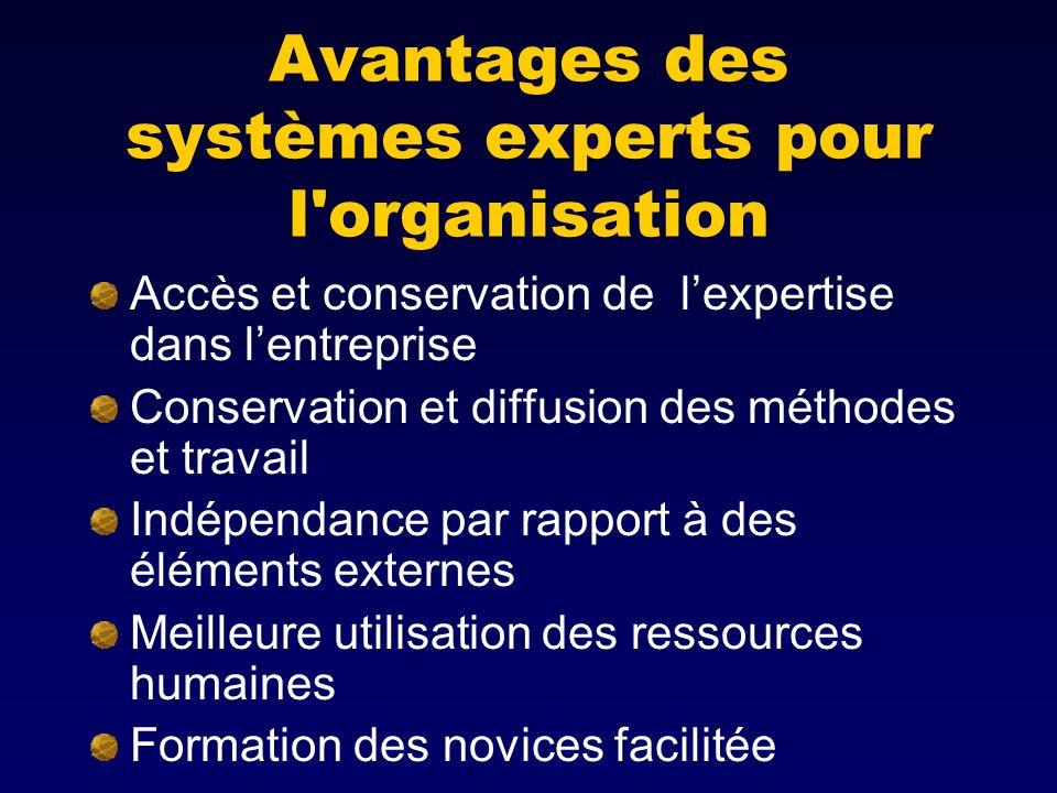 Avantages des systèmes experts pour l organisation